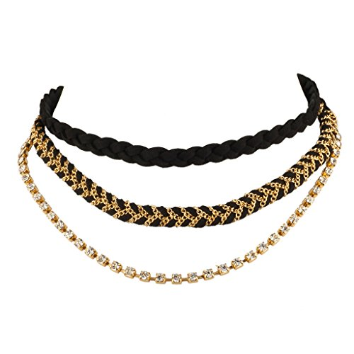 Woven Mesh Chain (Lux Accessories Black Woven Fabric Mesh Chain Link Pave Necklace Choker Set)