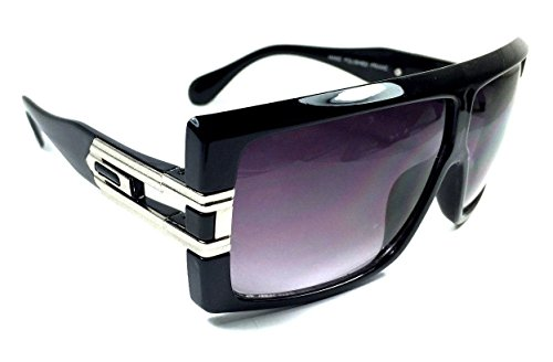 Gazelle Capo Oversized Flat Top Sunglasses (Glossy Black & Silver Frame, - Sunglasses Gazelle