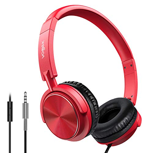 Vogek Wired Headphones with Microphone, Foldable On Ear Headset with Deep Bass, Adjustable Headband and Noise Isolation…