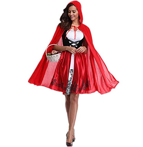 Phyxin Little Red Hood Costume Halloween Cosplay Party Dresses with Cloak for Women Red XS