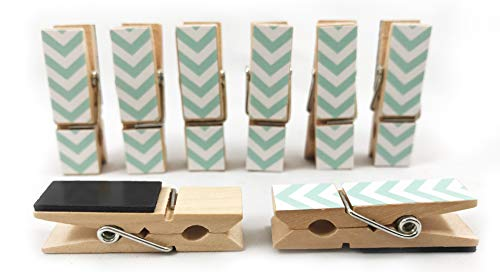 8 Pack Clothes Pin Magnetic Clips for Refrigerator, Home or Office   Decorative Chevron Styles (Teal)]()