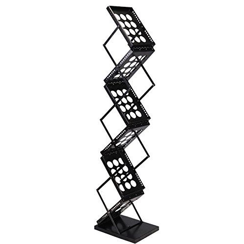 6 Pocket Pop-Up Literature Rack Folding Foldable Brochure Rack Magazine Display Holder Portable Trade Show Wall Stand Collapsible Metallic Design