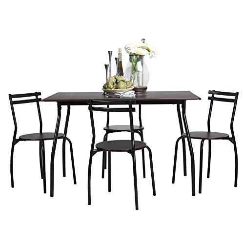 Coavas 5pcs Dining Table Set Kitchen Rectangle Dining Table with 4 Round Dining Chair Dinning Set