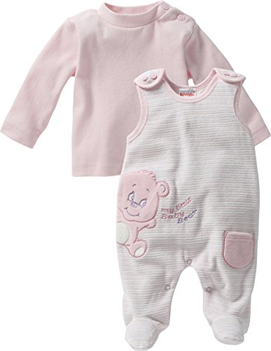 Schnizler Baby - Mädchen Strampler Set Nicki, Bär, 2 tlg. mit Langarmshirt, Gr. 68, Rosa (original 900)