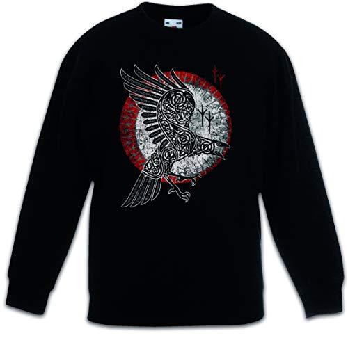 Urban Backwoods Norse Raven Kids Children Boys Girls Sweatshirt Pullover Black