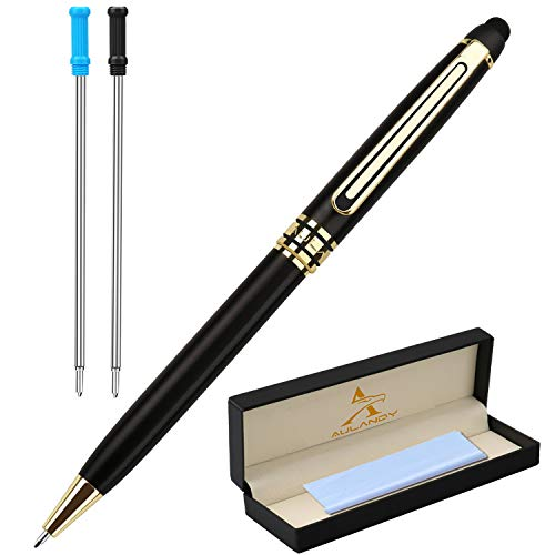 Stylus Ballpoint Pen,Luxury Gift Writing Pen,Cool Metal Pen,Business Executive Pens for Touch Screen Devices,2 Extra 1.0 mm Medium Fine Point Refills for Women Men (Matt Black Body)