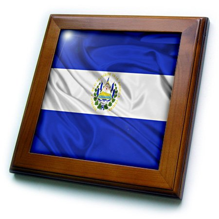 3dRose ft_28244_1 El Salvador Flag-Framed Tile, 8 by 8-Inch