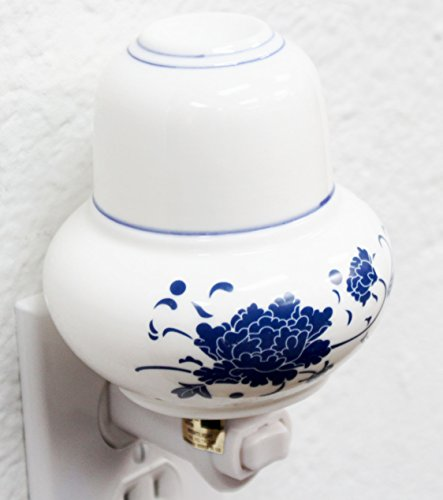 Blue Porcelain Light (Blue Peony Porcelain Flower Night Light Lamp Candle Aromatherapy Oil Warmer Burner Home Decor Housewarming Congratulatory Blessing Gift US Seller (Peony Porcelain (Blue) - COD09))