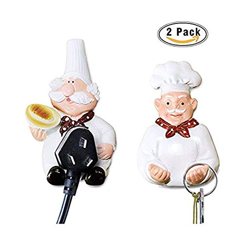 Pack of 2 Mobile Power Plug Hook Cook Fat Chef Wall Decor Organiser for Home, Kitchen, Garden, Garage Organizing - Fat Hook