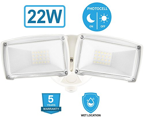 22W Dusk to Dawn LED Security Light, Amico Outdoor Wall Mount Floodlight [160W Equivalent] 6000K IP65 Waterproof, ETL Listed, Adjustable Dual Head Daylight for Entryways, Yard and Garage
