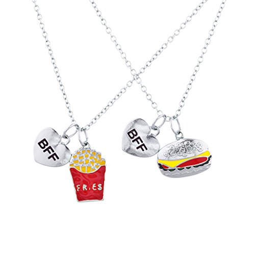 Cute Bestfriend Costumes (Lux Accessories Silvertone Burgers and Fries Best Friends BFF Charm Necklace Set)