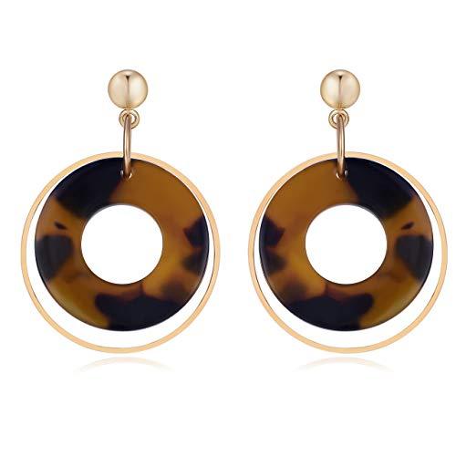 Tortoise Acetate - UNIWILL Acrylic Earrings Tortoise Shell Resin Earrings Bohemian Drop Statement Earrings for Women Fashion Jewelry