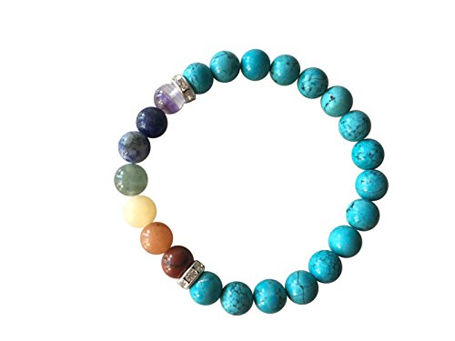 - 'Wisdom and Strength' Genuine Turquoise Gemstone Chakra Bead Buddha Bracelet ~ Natural Stones Ethically Sourced from Western Hills of India ~ Handmade Jewellery in Gift Box (Chakra Bracelet)