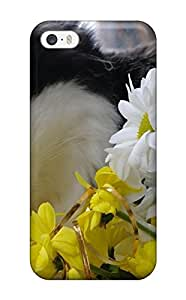 Iphone High Quality Tpu Case/ Cat Impressed By The Flowers BFiAjiA1931TuyPy Case Cover For Iphone 5/5s by lolosakes