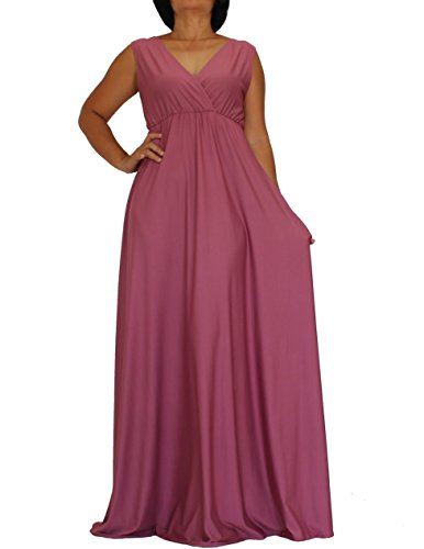 Informal Bridesmaid Dresses (The WomenLand Handmade Women Maxi V Neck Flare Wide Skirt Edge Flowy A Line Empire Waist Sleeveless Wedding Bridal Party Dark Dusty Pink Bridesmaids Dress Formal Informal Dresses (L, Dark Dusty Pink))