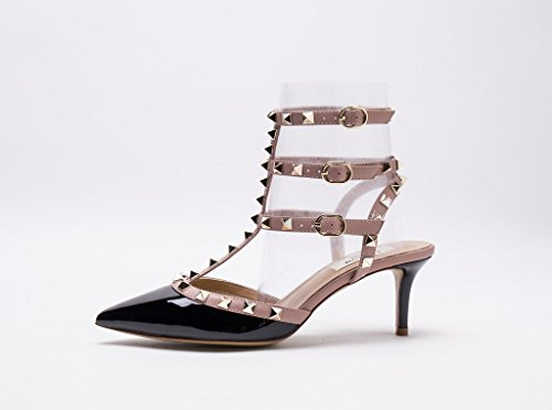 Black Beige Nude Pan Beige Gold Zoccoli Kaitlyn Donna Studs Patent Straps HqwZXO7