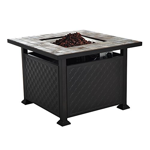 "Outsunny 45"" Slate Tile Mantel LP Gas Fire Pit Table"