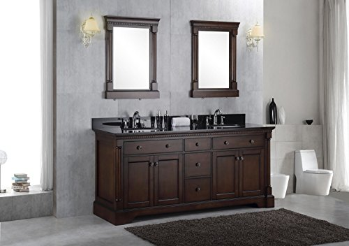 Solid wood 60 double bathroom vanity sink cabinet w granite stone top 80 off for Solid wood double sink bathroom vanity
