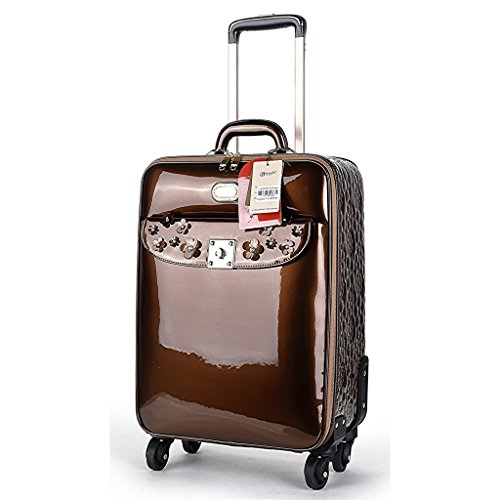 (Verona H & L New Women's Floral Sparkle Vegan Leather Carry-On Bronze)