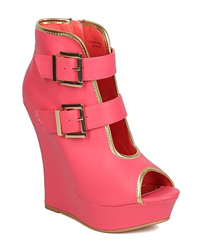 Women Leatherette Buckled Platform Wedge Heel - Party, Clubbing, Dressy, Formal - Plunging Platform Wedge Bootie - By Alrisco - Coral (Size: (Party City In Coral Springs)