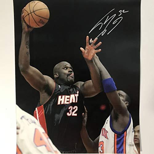 Autographed/Signed Shaquille Shaq O'Neal Miami Heat 16x20 Basketball Photo Fanatics COA Holo Only