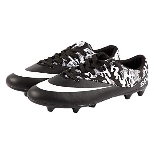 iFANS Men Athletic Outdoor/Indoor Comfortable Soccer Shoes Boys Football Student Cleats Sneaker Shoes Black