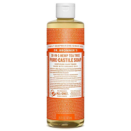 - Dr. Bronner's Organic Pure Castile Liquid Soap, Tea Tree Oil, 16 oz