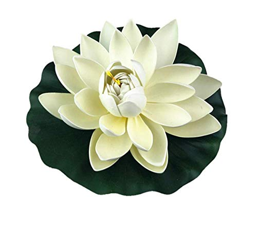 Dohuge 4 Pack Large Artificial Floating Lotus Flowers Foam Floating Flowers Set for Home Garden Pond Pools Aquarium Tank Wedding Party Decorations- Ivory White