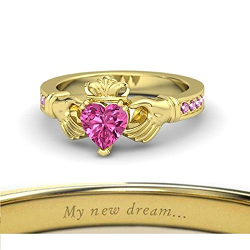 Beautiful Crown Engagement Ring-14k Yellow Gold Plated Created Solitaire Heart Shape Green Pink Sapphire LOVE Promise Claddagh Ring Women - Solitaire Sapphire Green