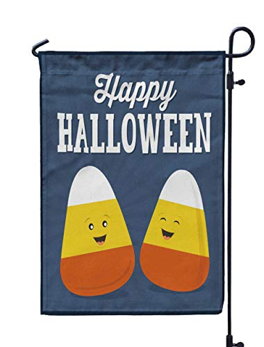 Shorping Welcome Garden Flag, 12x18Inch Happy Halloween Candy Corn Cartoon Corn for Holiday and Seasonal Double-Sided Printing Yards Flags ()