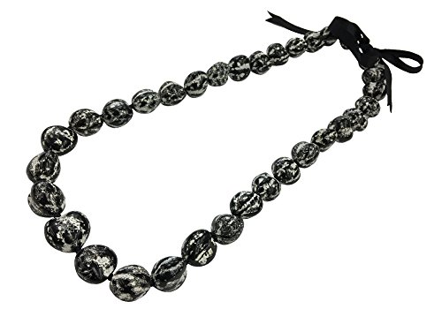 DK Hawaiian Collections Solid Heart Style Kukui Nut Lei 33 Nuts Necklace (MATTE)