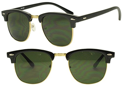 Classic Round Half Frame Horned Rim Inspired 80s Sunglasses (Black / Gold, - Clubmaster Gold Sunglasses And Black