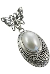 Butterfly Pendant with Mabe Cultured Pearl Sterling Silver Balinese