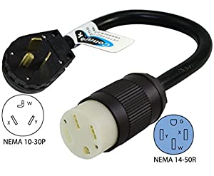 Conntek 30-Amp NEMA 10-30P Dryer Plug to 50-Amp Electric Vehicle Adapter Cord for Tesla