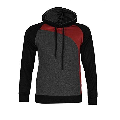 HOT Sale!Men Hoodies Coat,Canserin Men's Autumn Winter Slim Color Block Hoodies Warm Pullover Hooded Sweatshirt Coat (M, Red)