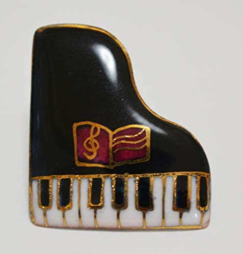 【UncleZ】 七宝焼き ピンブローチ ピアノ(黒)