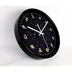 Kinger_Home 12-inch Silent Non-ticking Round Wall Clocks,Large Fashion Concise Design Home Kitchen/Living Room/ Bedroom Ultra Mute Quartz Movement Metal Frame Wall Clock(constellations,Black)
