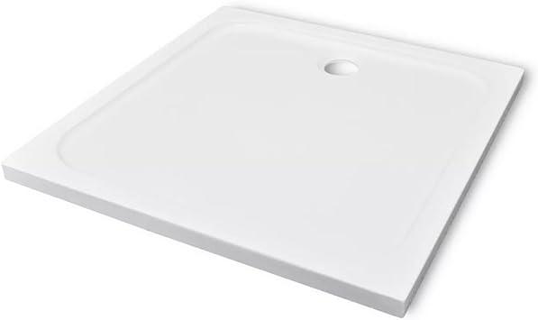 Festnight Plato de Ducha Cuadrado Base de la Ducha Receptor de la Ducha 90 x 90 cm Color Blanco