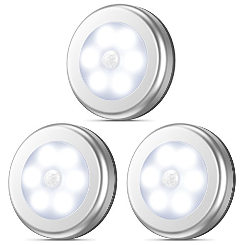 Cordless Led Light - AMIR Motion Sensor Light, Stick-Anywhere Cordless Battery-Powered LED Night Light, Closet Lights,Stair Lights, Tap Lights, Safe Lights for Hallway, Bathroom, Bedroom, Kitchen (White - Pack of 3)