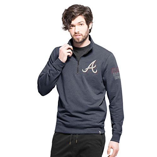 Atlanta Braves Mens Jackets - '47 MLB Atlanta Braves Men's Forward Peak 1/4-Zip Pullover, Shift Navy, Small
