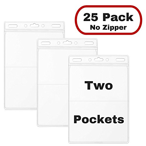 MIFFLIN Name Badge Holder (25 Pack) Two Pocket Large Conference Trade Show ID Badge Holders, Quick Load (No (Vinyl Tag Holder Top Load)