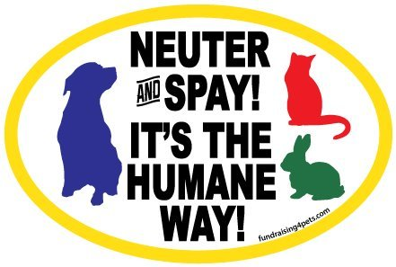 Neuter and Spay It's the Humane Way oval magnet