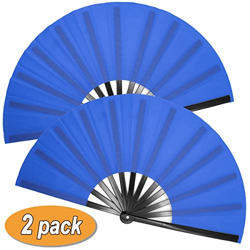 OMyTea Large Kitana Rave Clack Folding Hand Fans for Men/Women - Chinese Japanese Kung Fu Tai Chi Handheld Fans - for EDM, Music Festival, Event, Party, Dance, Performance, Decoration (Blue, 2 Packs)