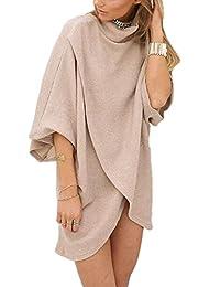 Women Irregular Turtleneck Surplice Slit Patchwork Knitted Sweater Tunic Shirt Dress