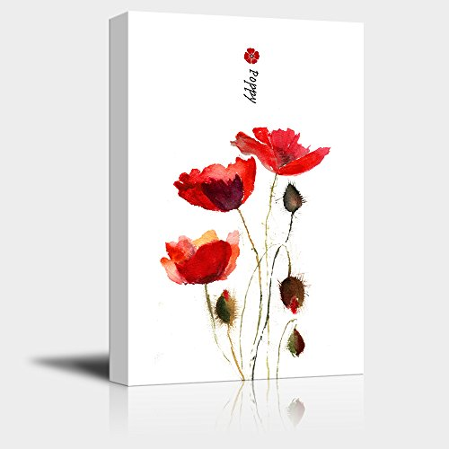 - wall26 Canvas Wall Art - Watercolor Style Red Poppies - Giclee Print Gallery Wrap Modern Home Decor Ready to Hang - 16x24 inches
