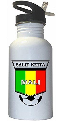 Salif Keita (Mali) Soccer White Stainless Steel Water Bottle Straw Top (Best Of Salif Keita)