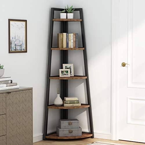 Rustic 5 tier 70 Inch Tall corner Shelf Bookshelf - the best modern bookcase for the money