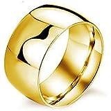 Retro Stainless Steel 12MM Ring Band Titanium Men Women Wedding Engagement Ring ERAWAN (8 #, Gold)