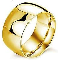 ERAWAN Retro Stainless Steel 12MM Ring Band Titanium Men Women Wedding Engagement Ring EW sakcharn (10 #, Gold)