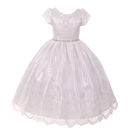 Kiki Kids Big Girls White Embroidered Glitter Waist Overlaid Communion Dress 8 from Kiki Kids